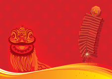 New year day background - Lion dancing and firecra Stock Photo