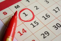 New year day marked with red marker Royalty Free Stock Photo