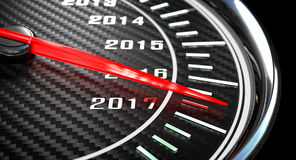 New year day speedometer. New year day 2017 speedometer 3d rendering Royalty Free Stock Photo