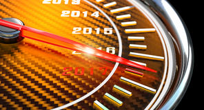 New year day speedometer. New year day 2017 speedometer 3d rendering Stock Photo