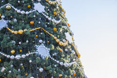 New year decor on a city tree Stock Photos