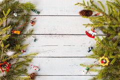 New year decor. Colorful New Year holiday decorations with furtree and toys Stock Image