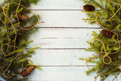 New year decor. Colorful New Year holiday decorations with furtree and toys Royalty Free Stock Photography