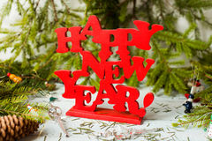 New year decor. Colorful New Year holiday decorations with furtree and toys Royalty Free Stock Photos