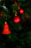 New Year. Decor decoration tree toy bell ball red background holiday Royalty Free Stock Photos