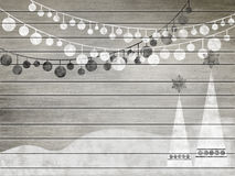 New year decor on old vintage board. (retro style royalty free illustration