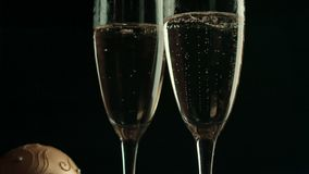 New year decor and two champagne flutes for. Celebration special event stock video footage