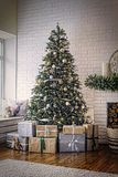 New Year, decorated Christmas tree, golden stars, Christmas , co royalty free stock image
