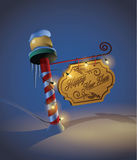 New Year decorated pole sign Stock Images
