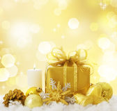 New Year Decoration. Beautiful New Year or Christmas Gift border on gold blurred background stock images