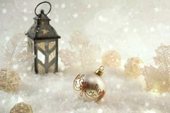 New Year decoration ball on snow background. Royalty Free Stock Photo