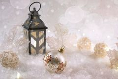 New Year decoration ball on snow background. Stock Image