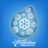 New year decoration ball with snowflakes on blue background Royalty Free Stock Images
