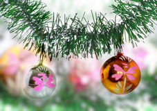 New Year decoration-balls, green tinsel Stock Image