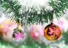 New Year decoration-balls, green tinsel Stock Image
