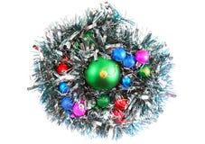 New Year decoration-balls, green tinsel Stock Photo