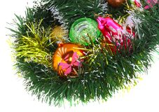 New Year decoration-balls, green tinsel Stock Photo
