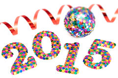 New Year 2015 decoration, Christmas, digits on white background Royalty Free Stock Images
