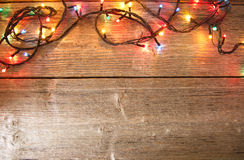 New Year decoration. Christmas ornaments, garlands, glowing lights and festive mood Stock Photography