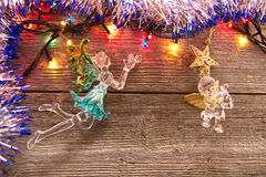 New Year decoration. Christmas ornaments, garlands, glowing lights and festive mood Stock Images