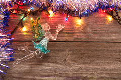 New Year decoration. Christmas ornaments, garlands, glowing lights and festive mood Stock Photo