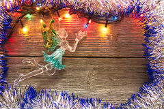 New Year decoration. Christmas ornaments, garlands, glowing lights and festive mood Royalty Free Stock Photography