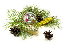 New Year decoration. Christmas ornaments are isolated on a white background Stock Photography