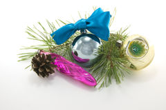New Year decoration. Christmas ornaments are isolated on a white background Royalty Free Stock Images