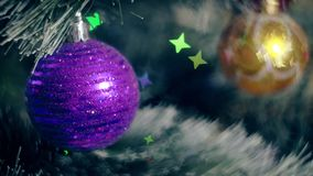 New Year Decoration Christmas Tree Garland Lights. New Year background Christmas tree garland lights stock footage