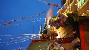 New year decoration. On the city street stock footage