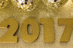 New year decoration. Closeup on golden 2017 Royalty Free Stock Photo