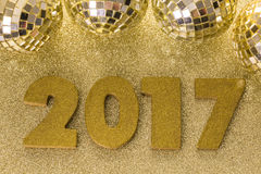 New year decoration. Closeup on golden 2017 royalty free stock photography