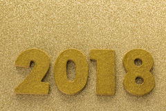 New year decoration. Closeup on golden 2018 Royalty Free Stock Images