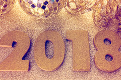 New year decoration. Closeup on golden 2018 royalty free stock image