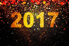 New year decoration,Closeup on golden backgrounds. New year decoration,Closeup on golden 2017 Royalty Free Stock Photography