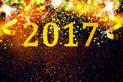 New year decoration,Closeup on golden backgrounds. New year decoration,Closeup on golden 2017 Royalty Free Stock Photos