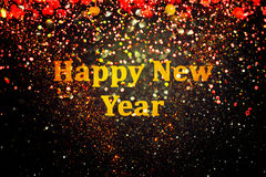 New year decoration,Closeup on golden backgrounds stock image