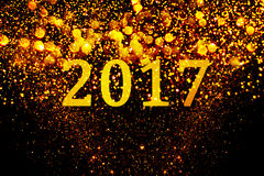 New year decoration,Closeup on golden backgrounds. New year decoration,Closeup on golden 2017 Royalty Free Stock Images