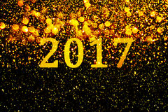 New year decoration,Closeup on golden backgrounds Stock Photo