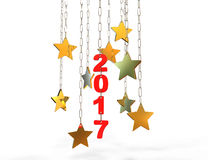 New year decoration,Closeup on golden 2017. Isolated white background,golden stars Stock Photos