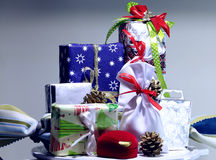 New Year decoration. Colored Christmas boxes and cases for gifts and presents Royalty Free Stock Image