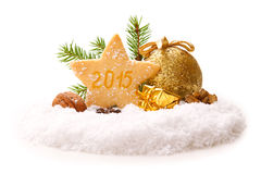 2015 new year decoration. Cristmas cookies and decoration Royalty Free Stock Photo
