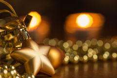 New Year decoration with defocussed candles lights Stock Photos
