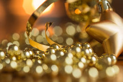 New Year decoration with defocussed candles lights. Bokeh in the background Stock Photos