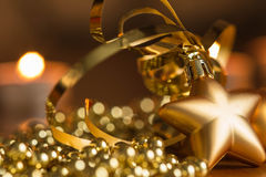 New Year decoration with defocussed candles lights Royalty Free Stock Photos