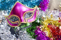 New Year decoration with fancy mask Stock Photos
