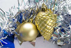 New Year decoration flat lay. Sparkling Christmas decor picture. Royalty Free Stock Image