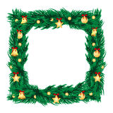 New year decoration. Frame of branches of christmas tree decorated with gold christmas toys.new year decoration stock illustration