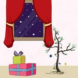 New year decoration with gifts and Christmas tree greeting card Royalty Free Stock Images