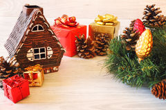 New Year decoration, gifts and pine cones Stock Image
